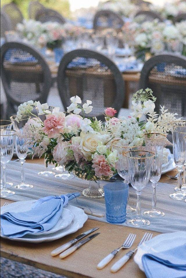 elegant organic floral centerpiece with garden roses, soft cream and blush tones