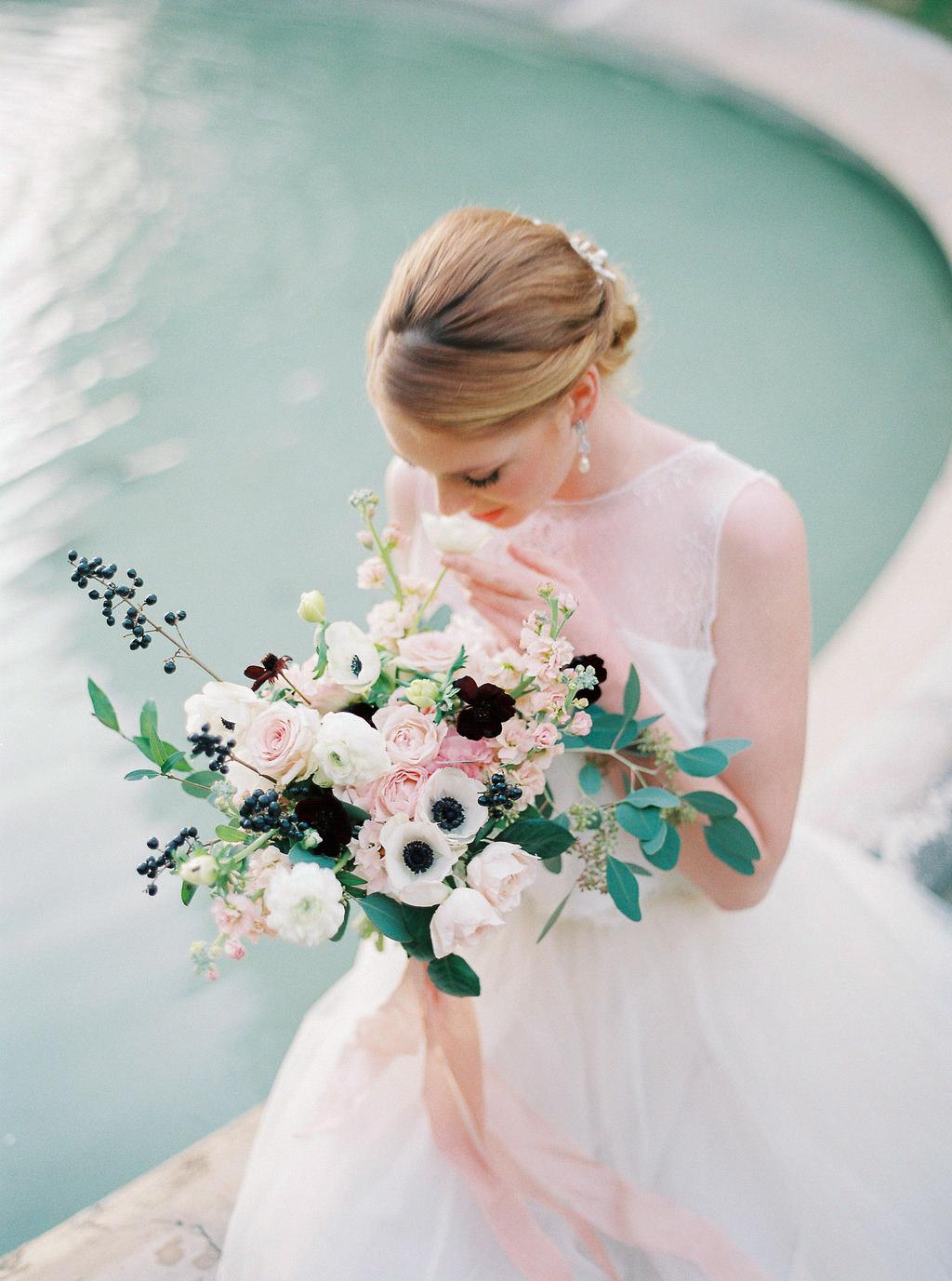 blush and white bride bouquet