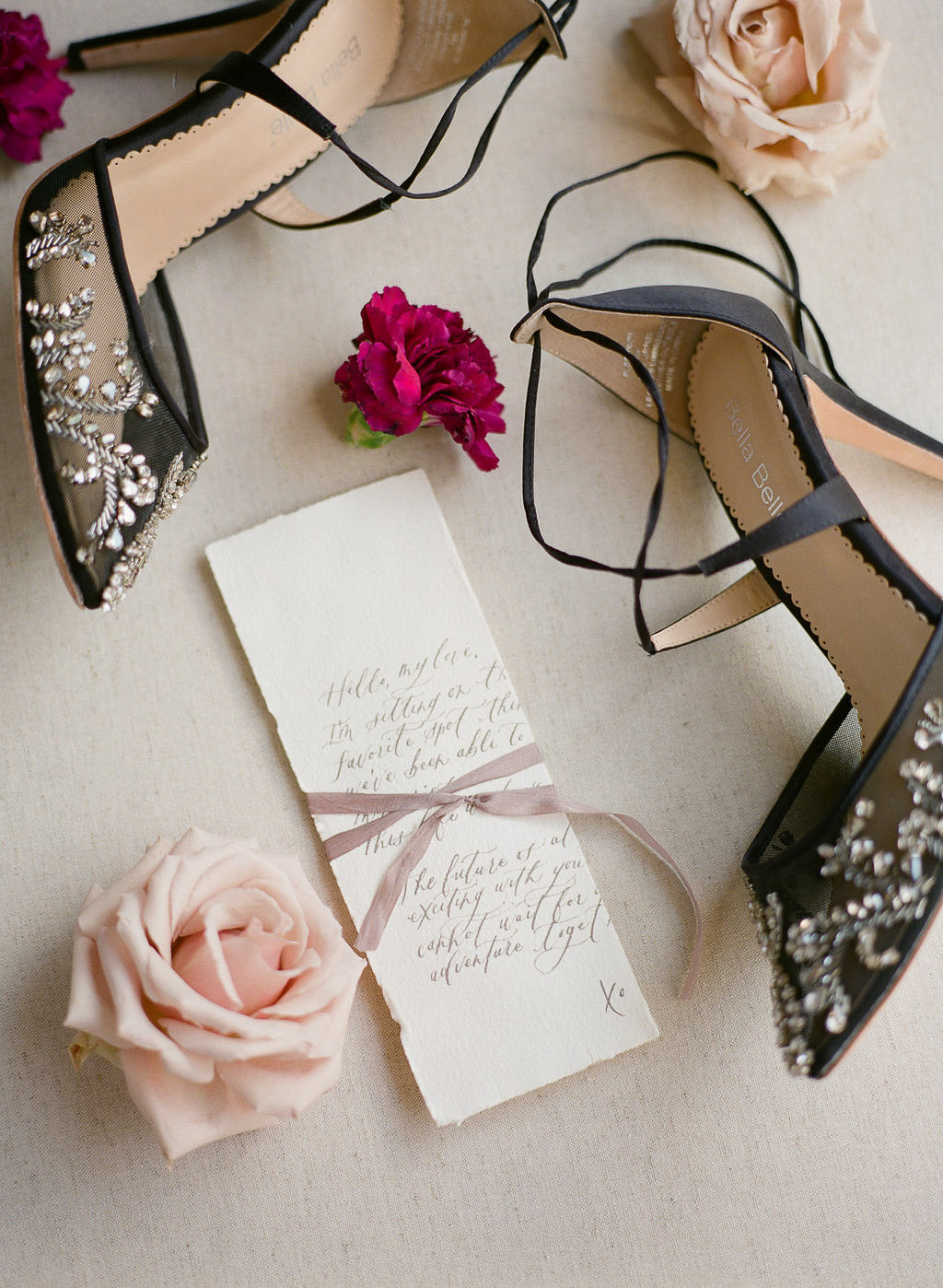 Calligraphy wedding suite and Bella Belle shoes