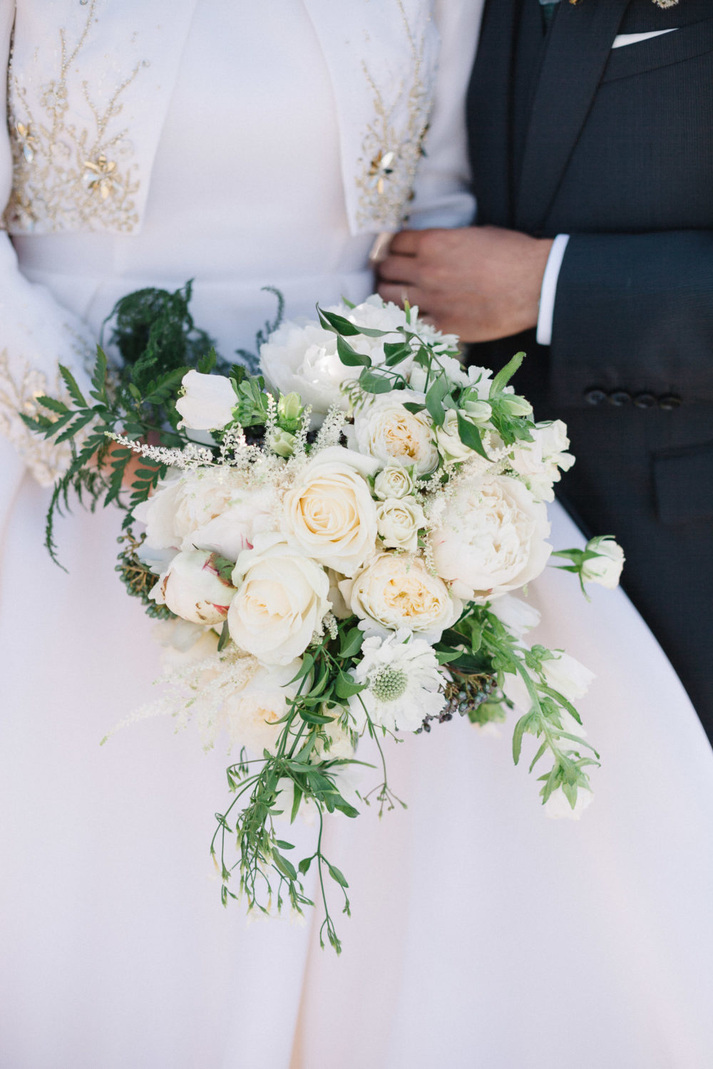 white garden roses bridal bouquet