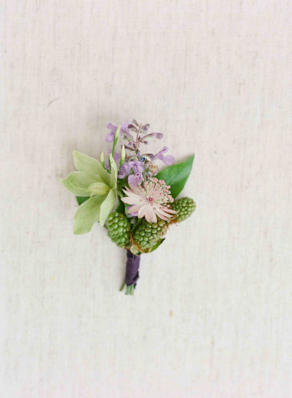 lavender groom boutonniere