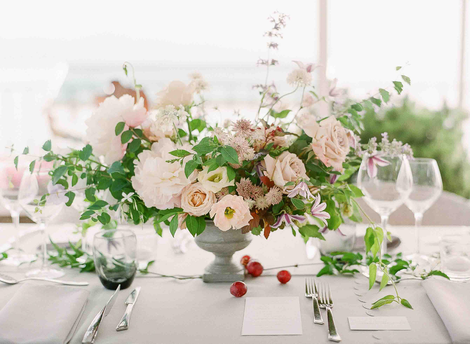 organic floral centerpiece blush and lavender