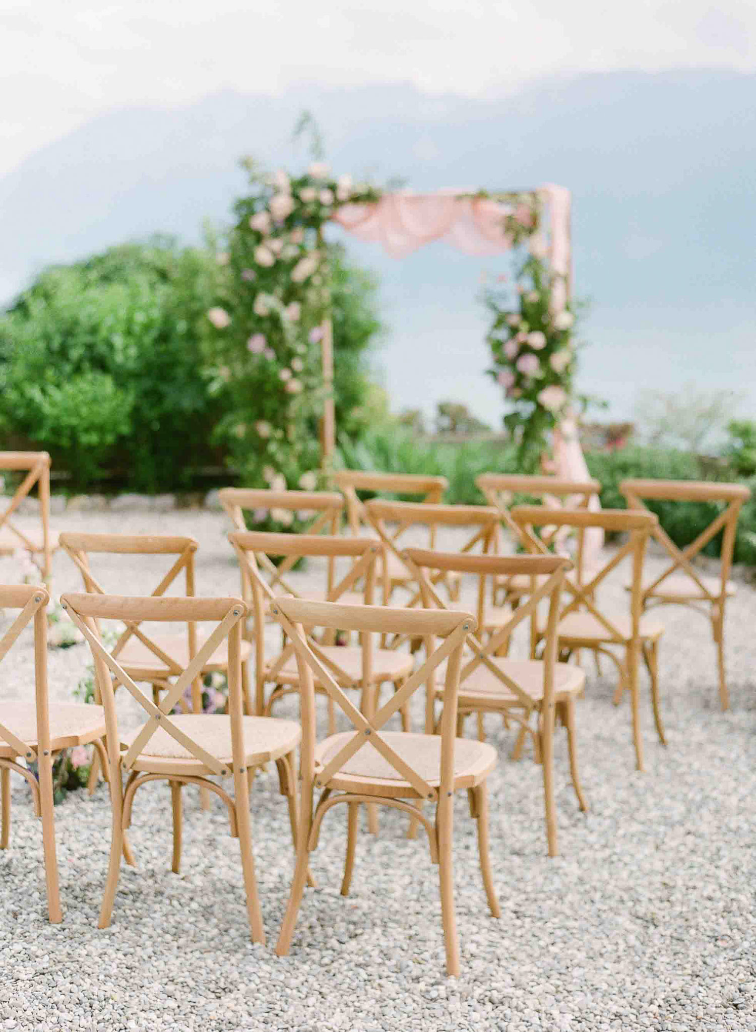 wedding ceremony decor with view