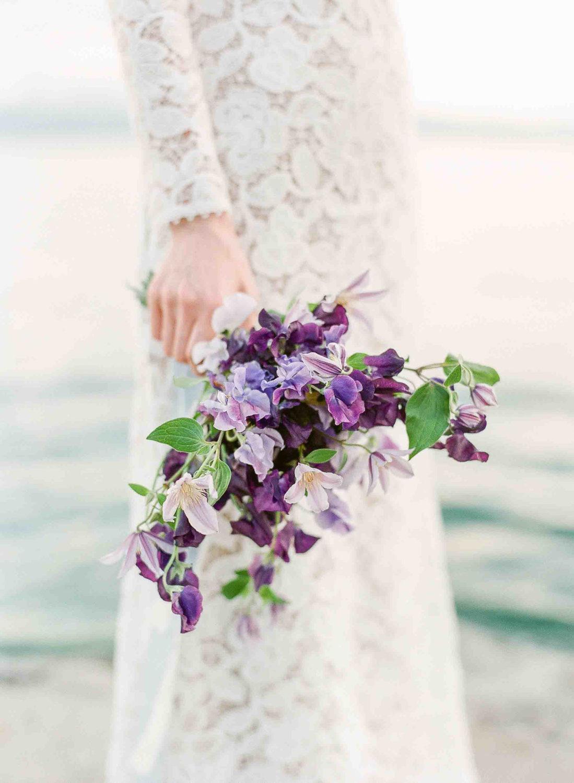 lavender and violet sweet peas bridal bouquet