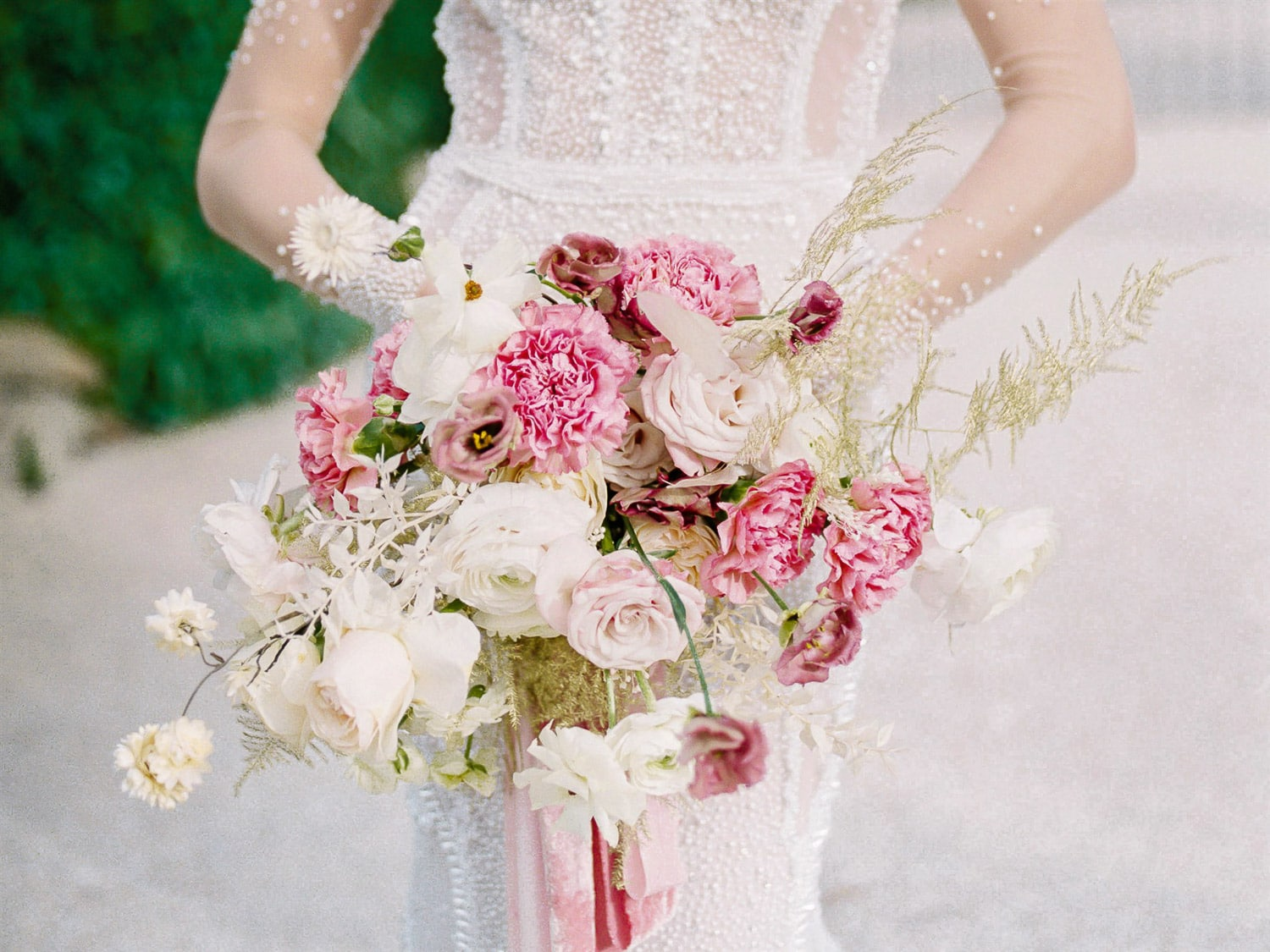 modern refined bridal bouquet in blush and soft pink