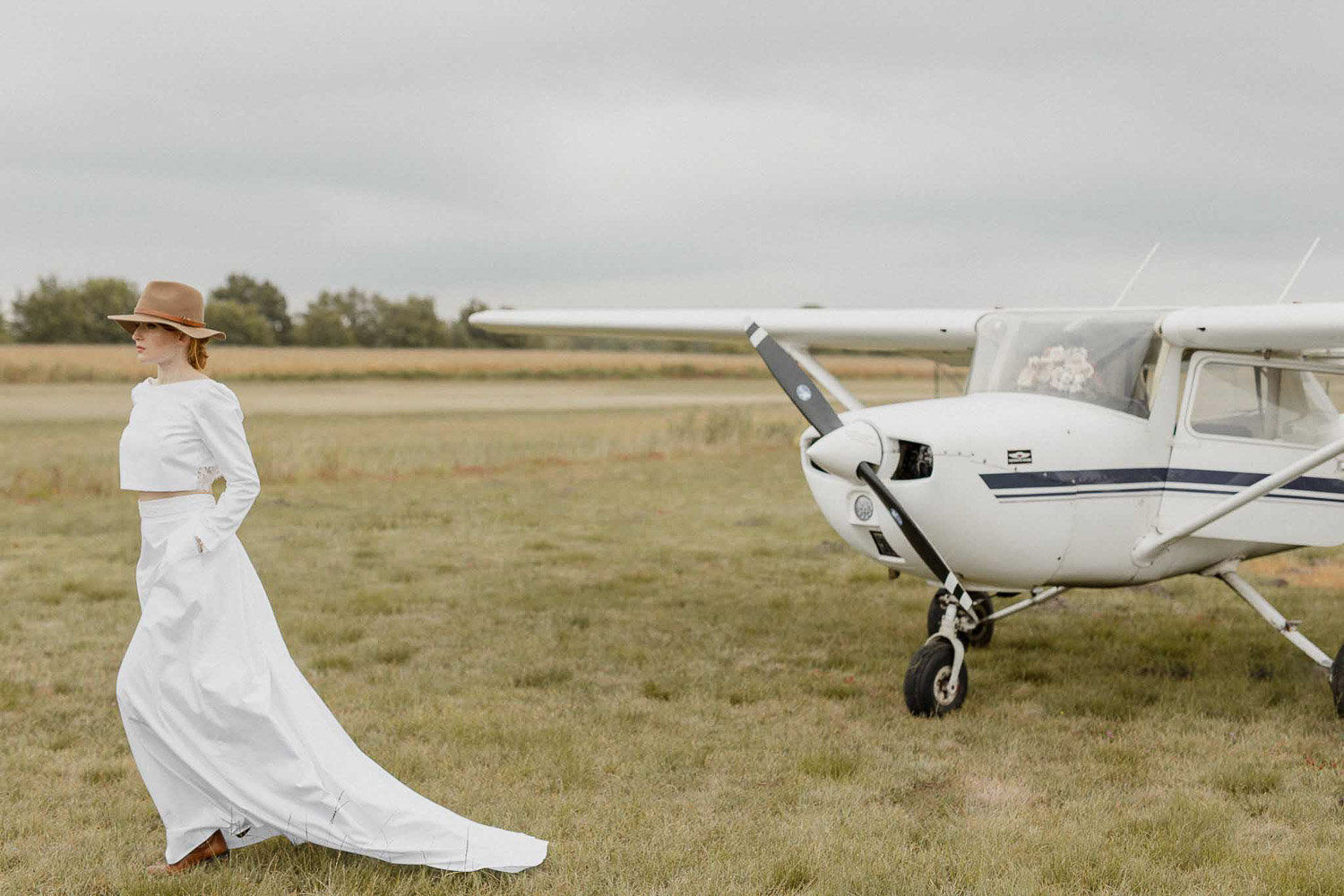 Amelia Earhart inspired bridal shoot