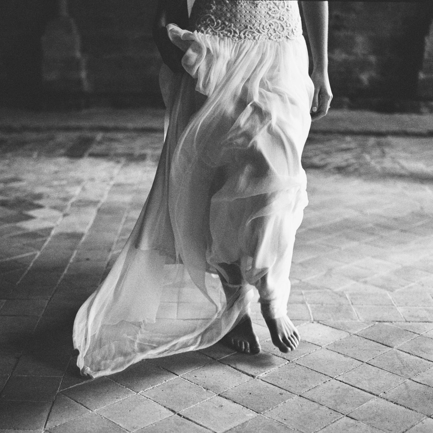 bridal dress, movement, slow motion, french abbey, editorial shoot
