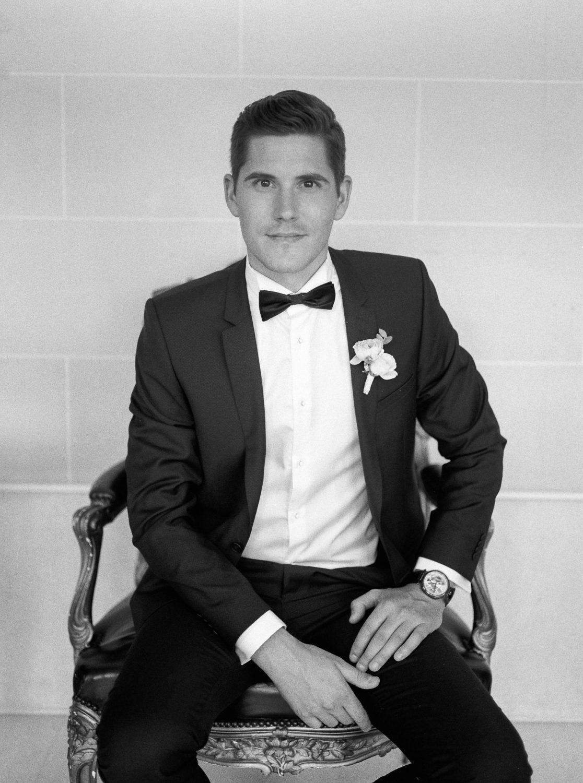 black tie wedding, black tie groom, elegant groom, Parisian style, chic wedding