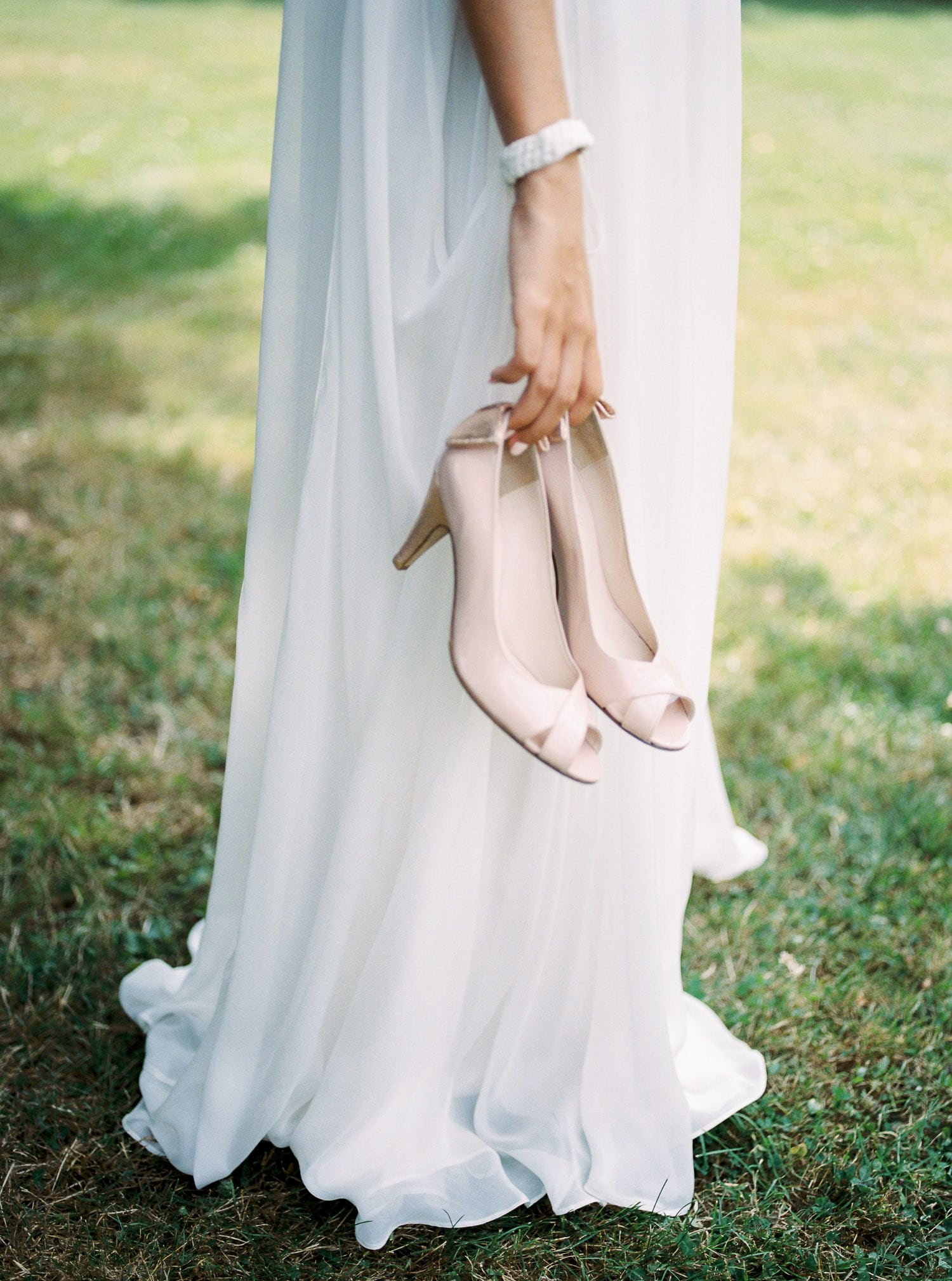 soft pink shoes, Constance Fournier dress, modern bride