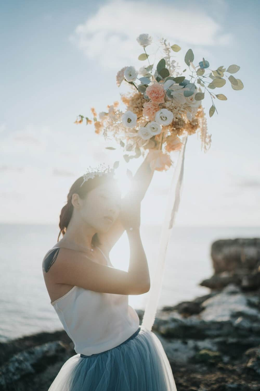 Sunset bridal bouquet portrait