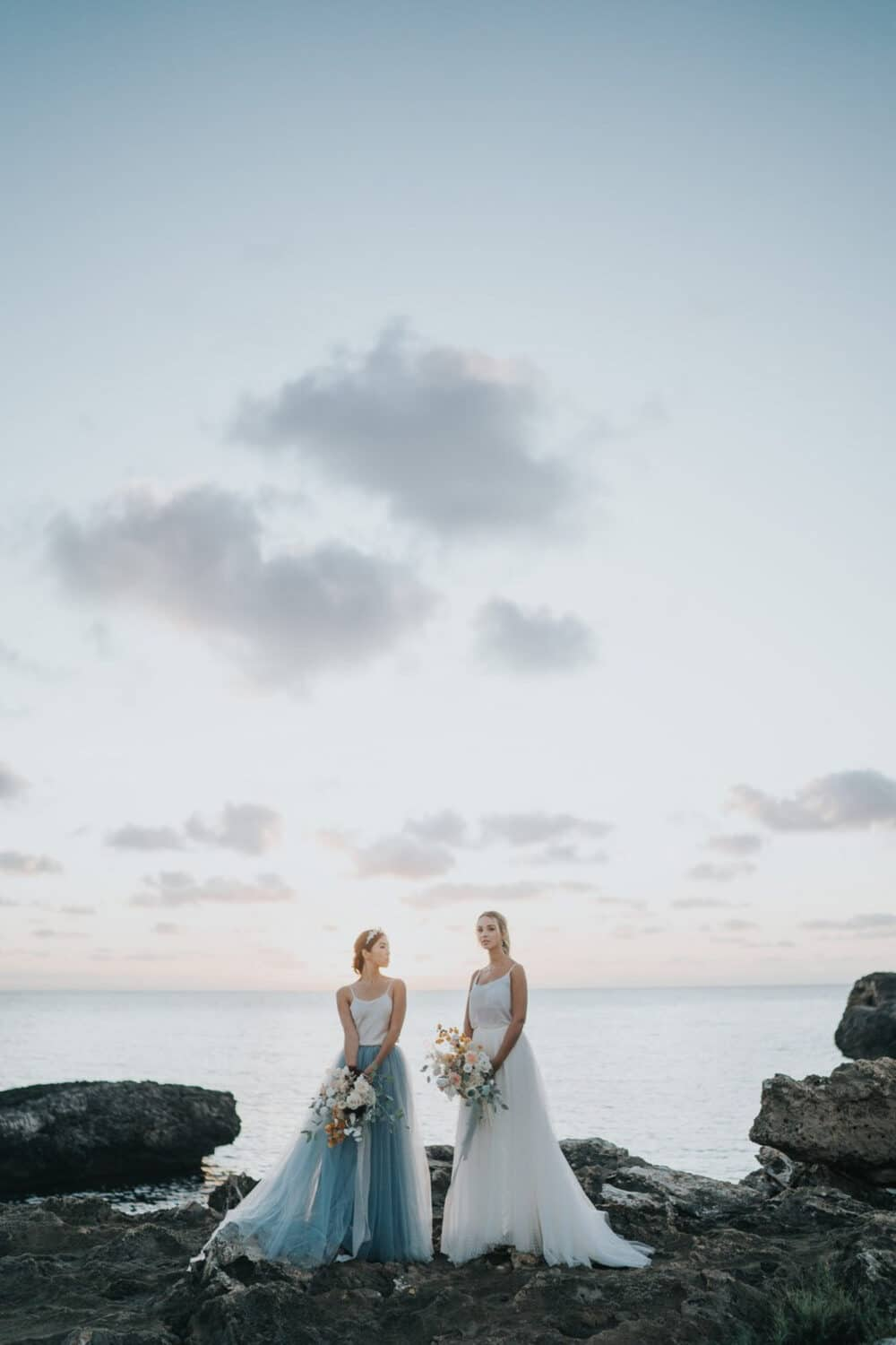 two brides on Mallorca coast